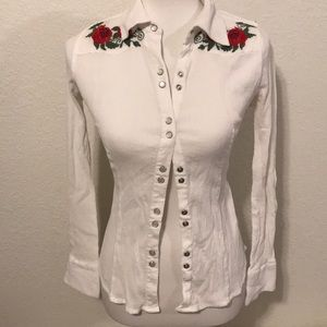 Guess Western Embroidered Button Up Xsmall